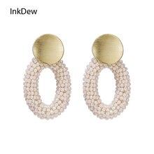 INKDEW Oval Shape Handmade Crystal Beads Drop Earrings For Women Big Long Earrings Gold Color Metal Ear Piece Fashion Jewelry недорого