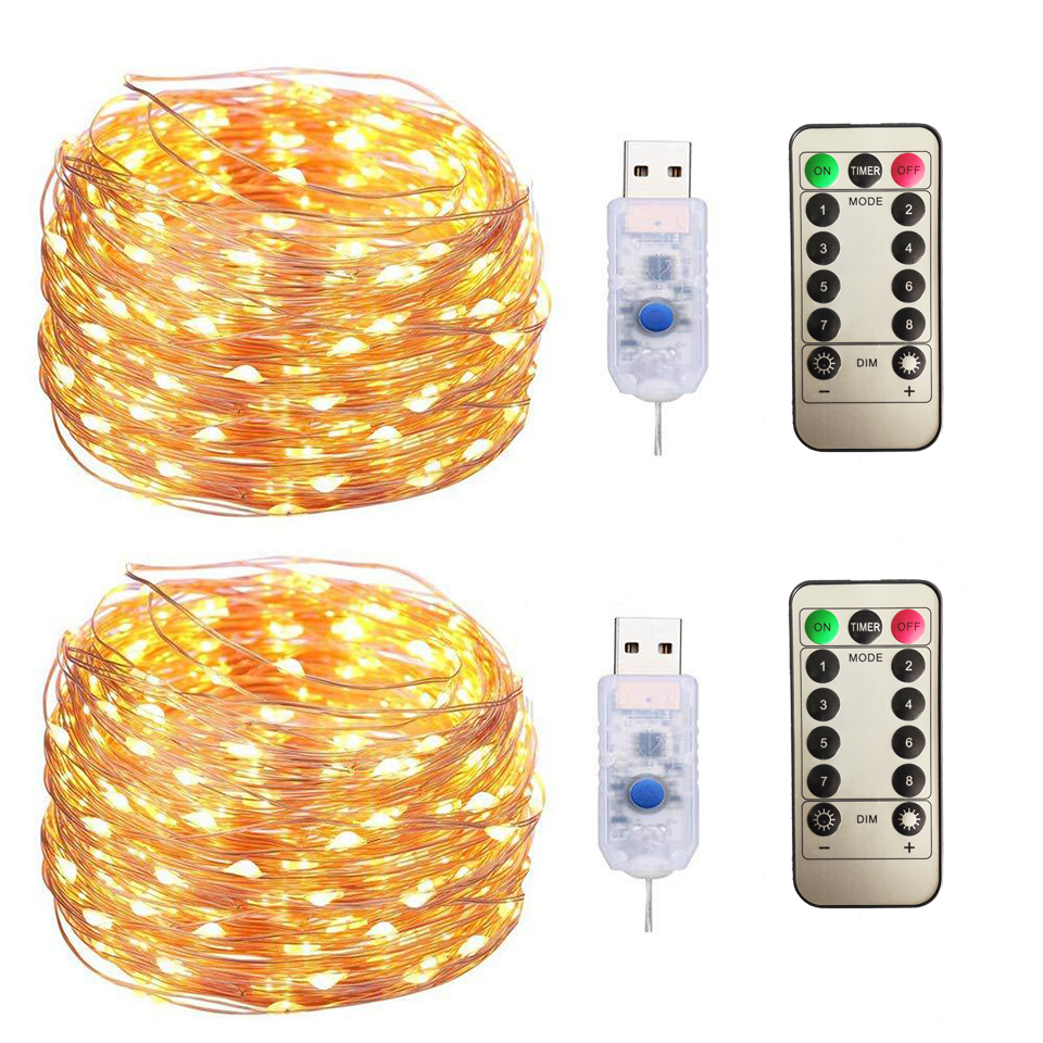 USB LED String Light Remote Control 5M 10M Fairy String Lights Photo Clip Garland Light For Wedding Christmas Holiday Decor Lamp