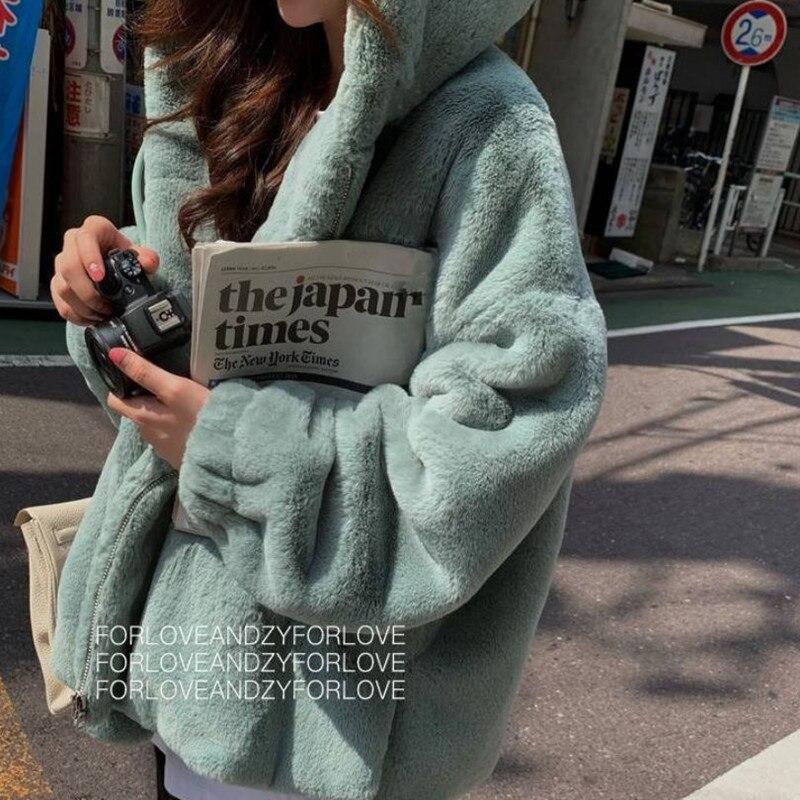 2020 Fashion Faux Fur Coat Winter Women Casual Hooded Slim Long Sleeve Faux Fox Fur Winter Jacket Women Casaco Feminino