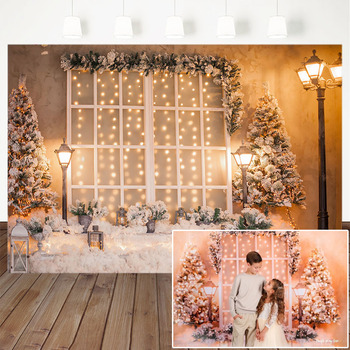 Photography Backdrops Christmas Tree Potted Plants Winter Snow Street Lamp White Window Christmas Background For Photo Studio christmas on coronation street