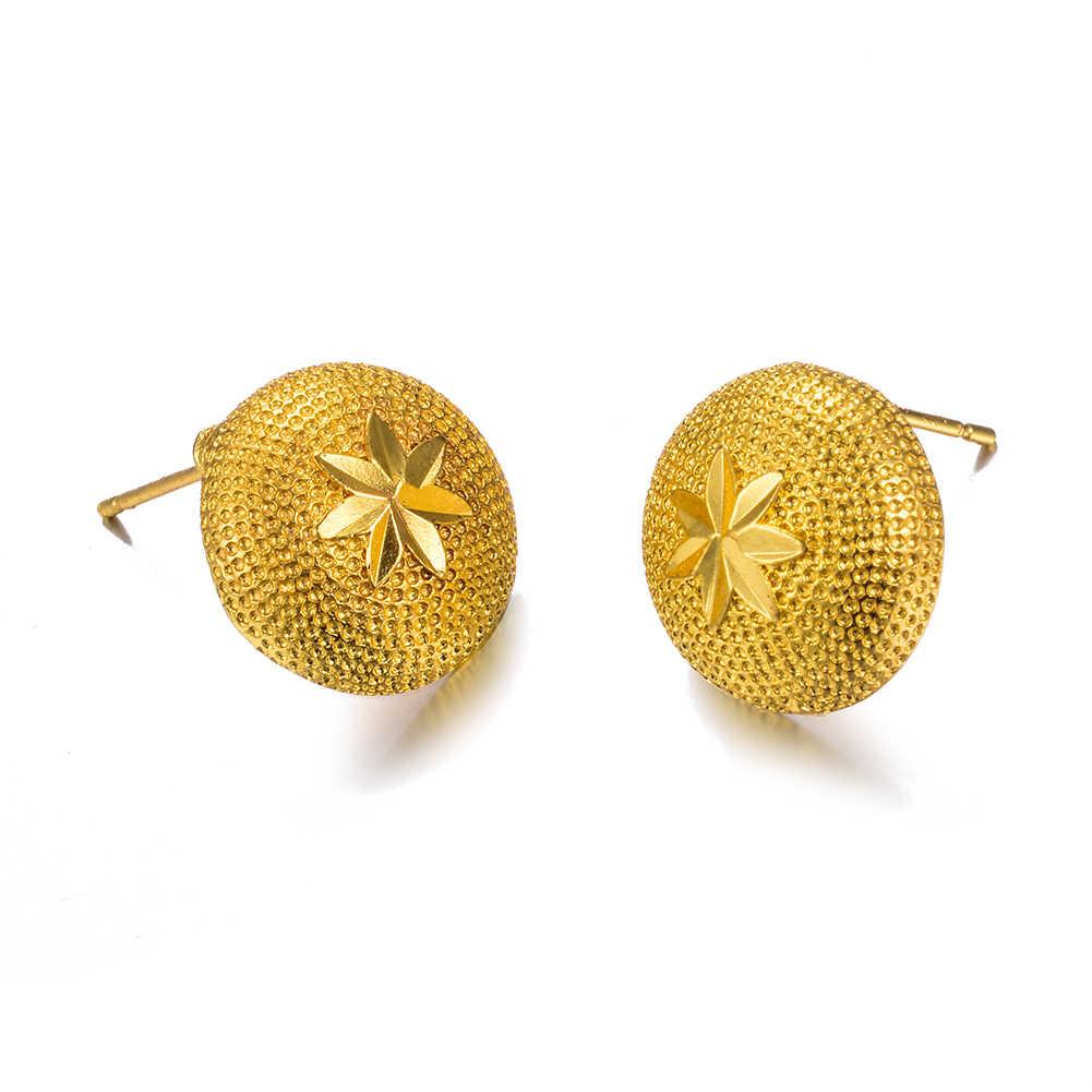 Wando ใหม่รัสเซีย Golden ต่างหูผู้หญิงเอธิโอเปียเครื่องประดับขายส่งในต่างหู dropshipping หัวใจดอกไม้ต่างหู