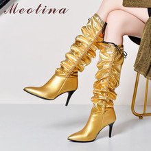 Meotina Winter Knee High Boots Women Natural Genuine Leather Thin High Heel Long Boots Pleated Pointed Toe Shoes Lady Fall 34-43 prova perfetto metal pointed toe genuine leather knee high boots women fashion chunky high heel knight boots females long boots