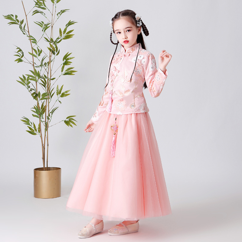 Girls Ancient Costume Chinese Clothing Princess Dress Chinese-style Cheongsam Autumn And Winter Plus Velvet Long Sleeve Children