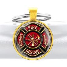 Fire rescue Courage Honor Key Chains Classic  Men Women  Firemen Pendant Key Rings Jewelry Gifts 10pcs lot fashion key chains men s and boys key chains key rings key rings custom accepted