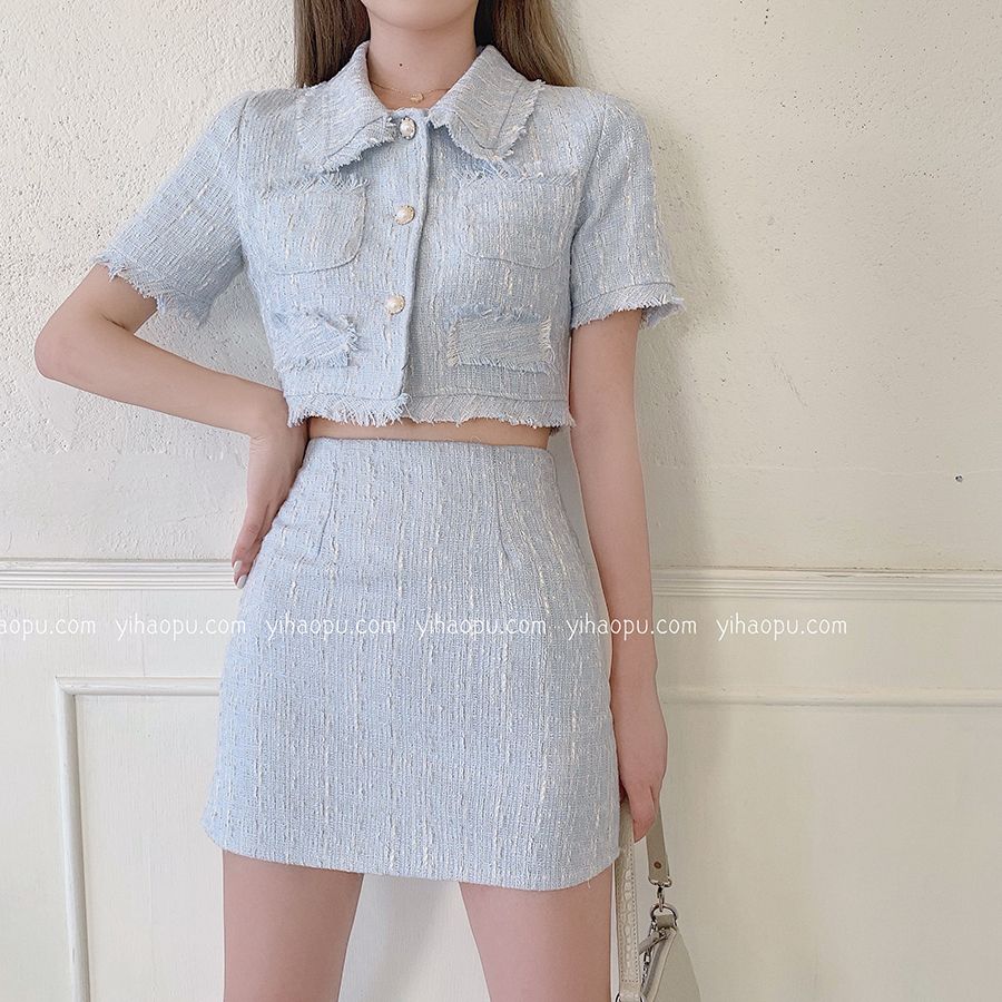 Summer Clothes For Women Tweed Two Piece Set Short Sleeve Crop Tops Shorts Skirt Suit Female Elegant 2 Piece Set Women