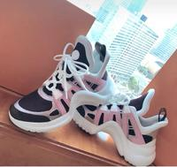 BONJEAN Fashion Mixed Colors Dad Shoes Round Toe Lace up High Top Casual Shoes Woman Height Increasing Mesh Grid Lady Shoes