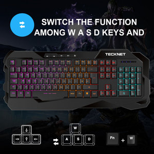 Image 5 - Teclado para videojuegos TeckNet, sensación mecánica, teclados para videojuegos antighosting, Teclado retroiluminado luminoso con diseño en inglés para jugadores