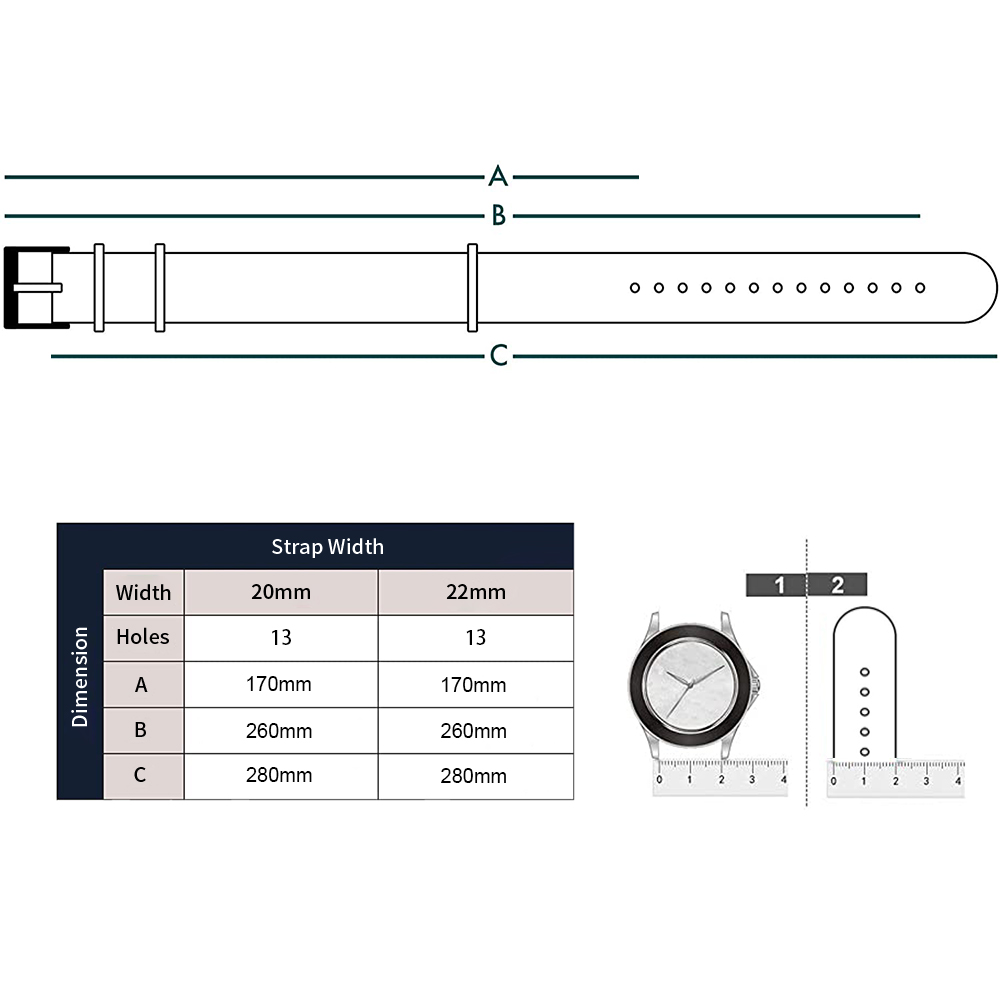Premium quality NATO wristwatch strap (20 mm or 22 mm)
