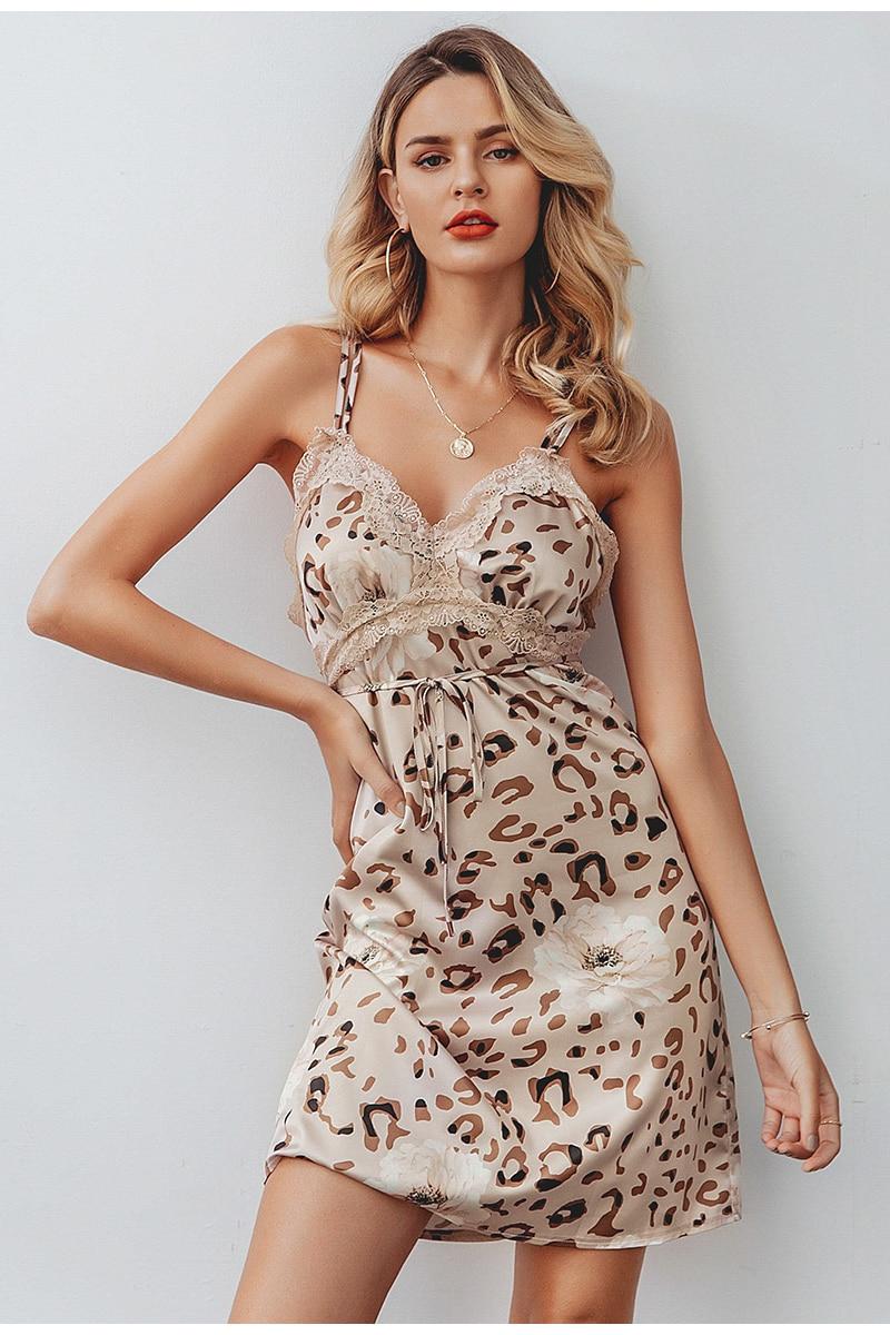 Elegant V-Neck Leopard Sleeveless Backless Mini Dress 3
