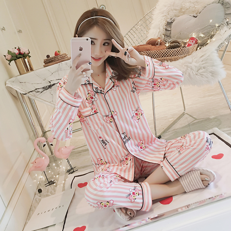 Fashion 2PCS Pajamas Sets For Women Lapel Long Sleeve Home Wear Ladies Mujer Sweet Tops+Pants Ladies Nightgown Sleepwear Suit