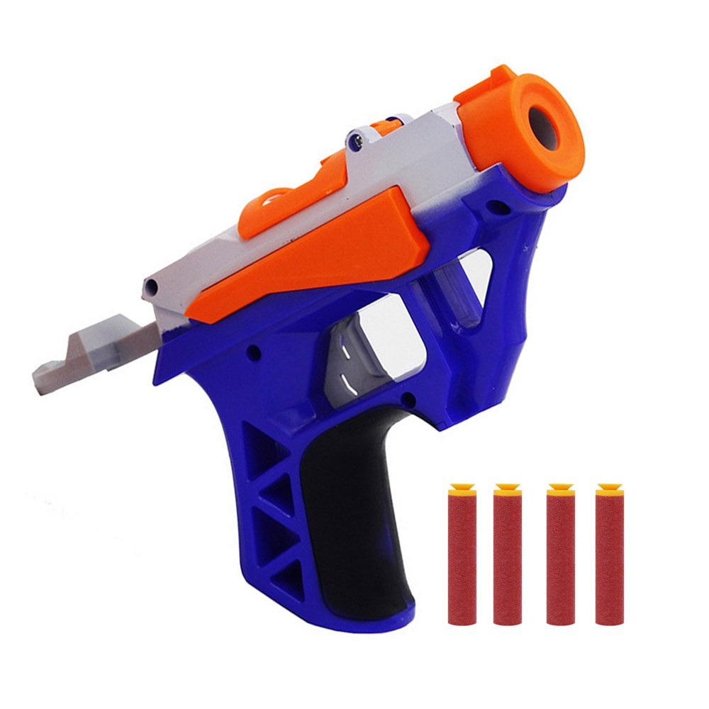 Toy Gun With 4 Soft Bullets Gun Suit For Nerf Bullets Long Range Toy Pistol Dart Blaster Kids Toys Gift