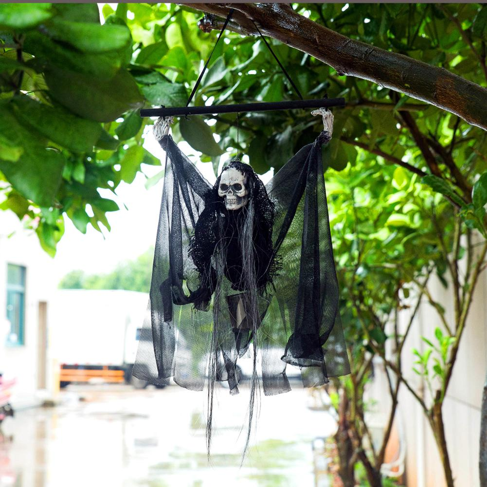 60cm Halloween Decoration Black Voice Control Pendant Ghost Doll House Haunted Accessories Horror Supplies