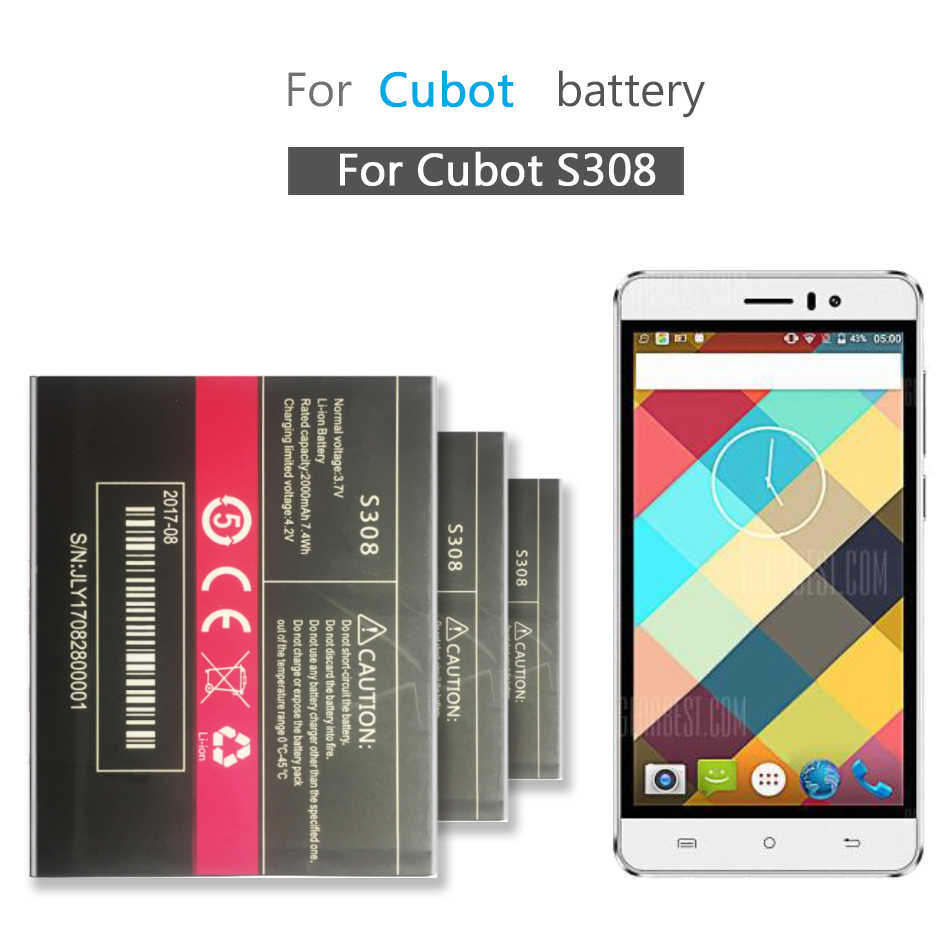 Mobile Phone <font><b>Battery</b></font> For <font><b>Cubot</b></font> <font><b>S308</b></font> Replacement <font><b>Battery</b></font> 2000mAh image