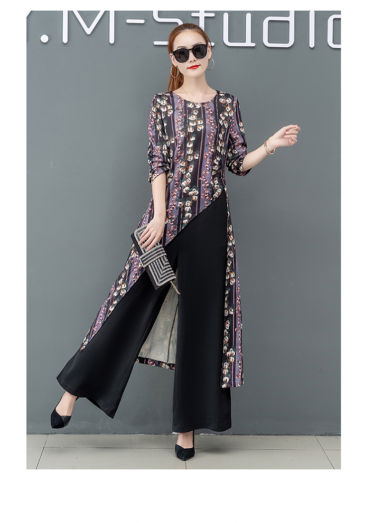 Printed Two Piece Sets Outfits Women Plus Size Splicing Long Tops And Wide Leg Pants Suits Elegant Office Fashion Korean Sets 60