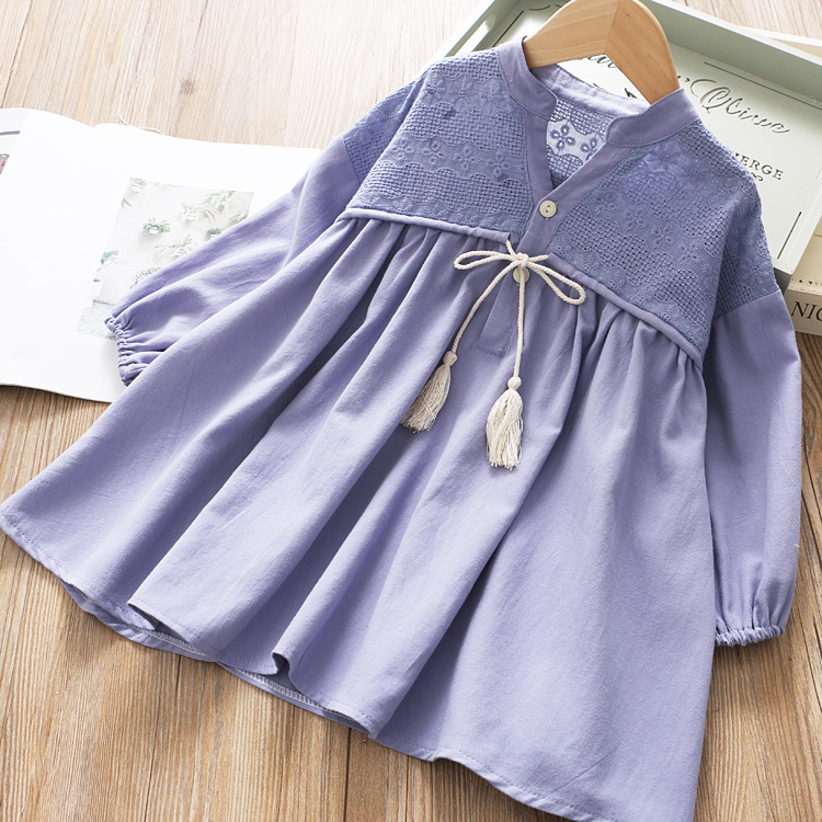 Image 4 - Girls Spring Dress Fringed Bow Pleated Princess 2020 SpringDresses