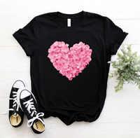 Cor-de-rosa coração flor impressão camiseta feminina algodão casual engraçado t camisa presente 90s lady yong menina navio da gota S-894 presente do dia dos namorados