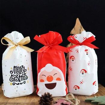 Bolsas de Feliz Navidad Regalo para Navidad, 5/10 Uds., bolsas para Dulces, galletas, Chocolate, Papá Noel, árbol de Navidad, bolsas de embalaje, Feliz Año Nuevo 2019