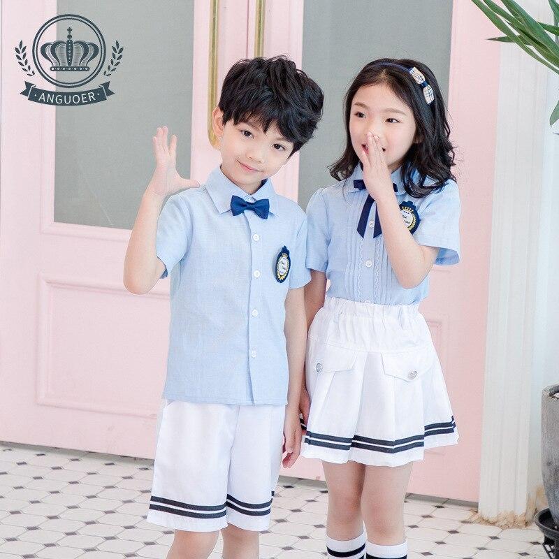 [Ann Fruit] Young STUDENT'S School Uniform Summer New Style Light Blue Shirt Set Kindergarten Suit British Style