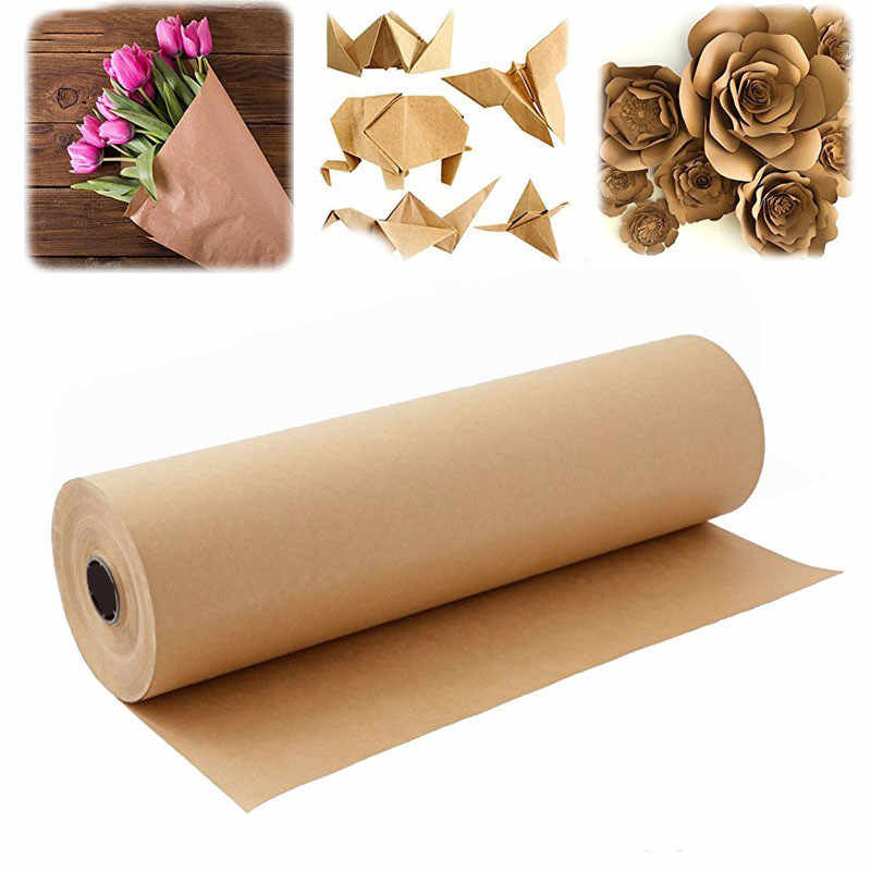 30cmWide10-30m Brown Kraft Paper Roll For Wedding Birthday Party Handmade Gift Wrapping Craft Paper Roll Poster Paper Home Decor
