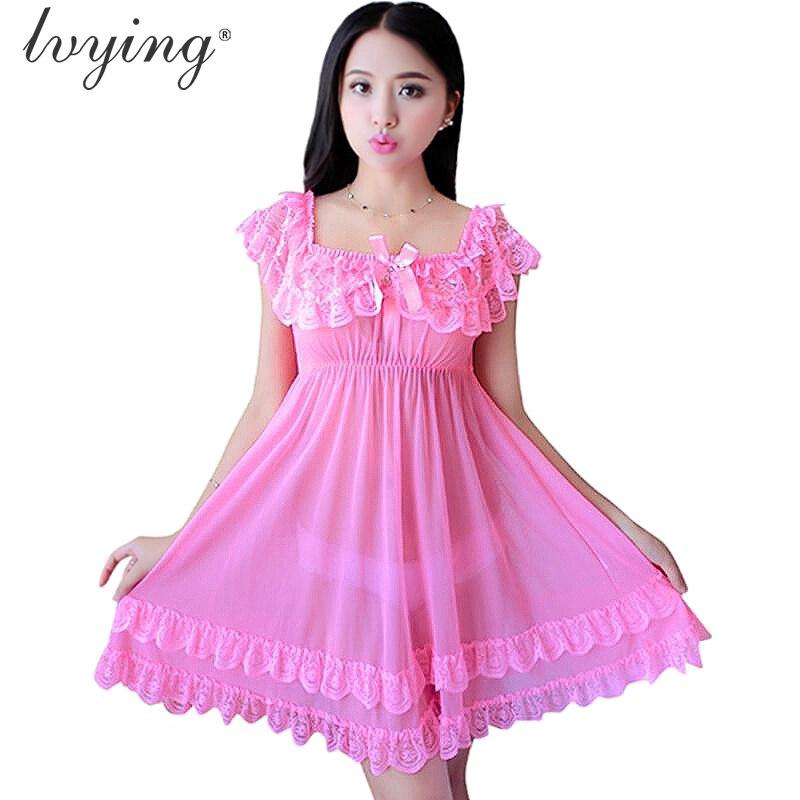 2020 Women Nightgown Sexy Lace Pyjamas Romantic Charming Night Dress Sleepwear Lingerie Dew Shoulder Nightshirt Nightwear Nighty
