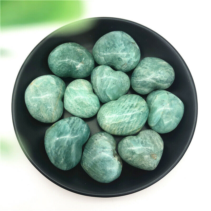 1PC 20-40g Natural Beautiful Amazonite Quartz Crystal Heart Polished Stone Healing Natural Stones And Minerals