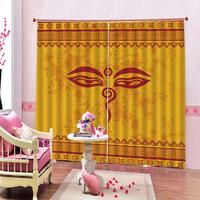 Custom European Pattern Red Room Curtains Large Window Living Room Blackout Indoor Drapes Decor Cartoon smiling face Kids Window
