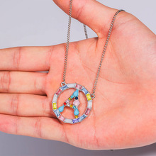 2019 Multicolor CZ Micro Pave Zircon Charm Necklace Fashion Gold White 26 Letter Pendant Couple Holiday Gift