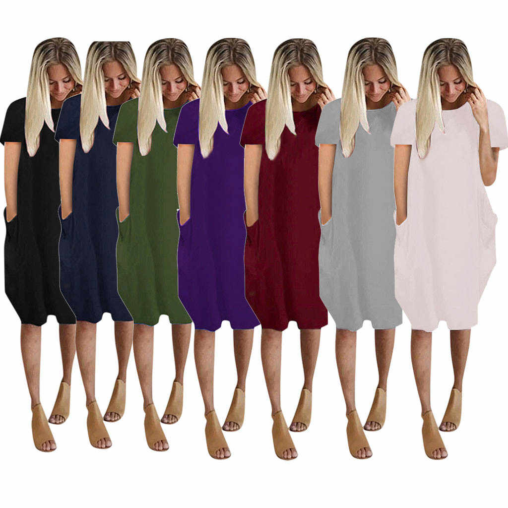 Womens Summer Dress Jumper Ladies Fashion Casual Oversized Baggy Short Sleeve Pocket Pullover Mini Dress Beach Sundress