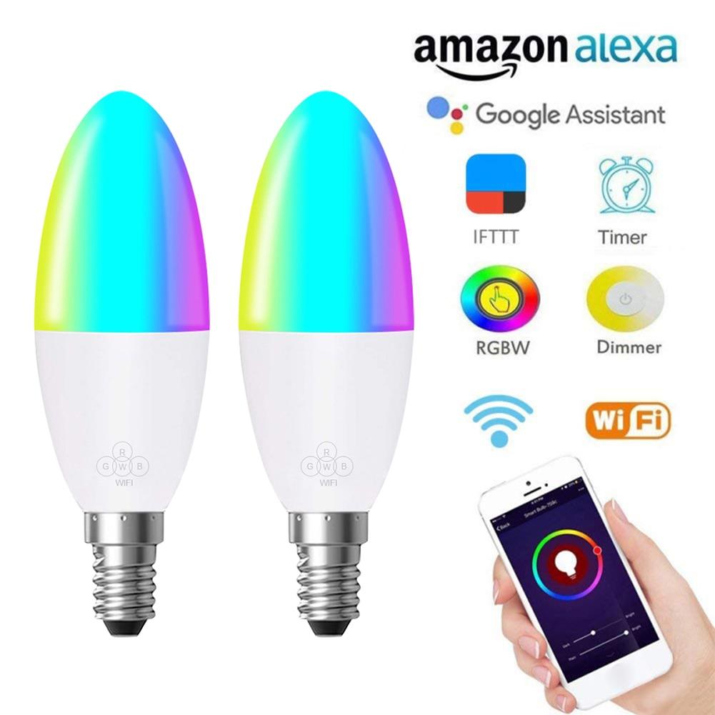 E14 Smart Bulb LED Lamp WIFI RGB Voice Control For Alexa And Google Home