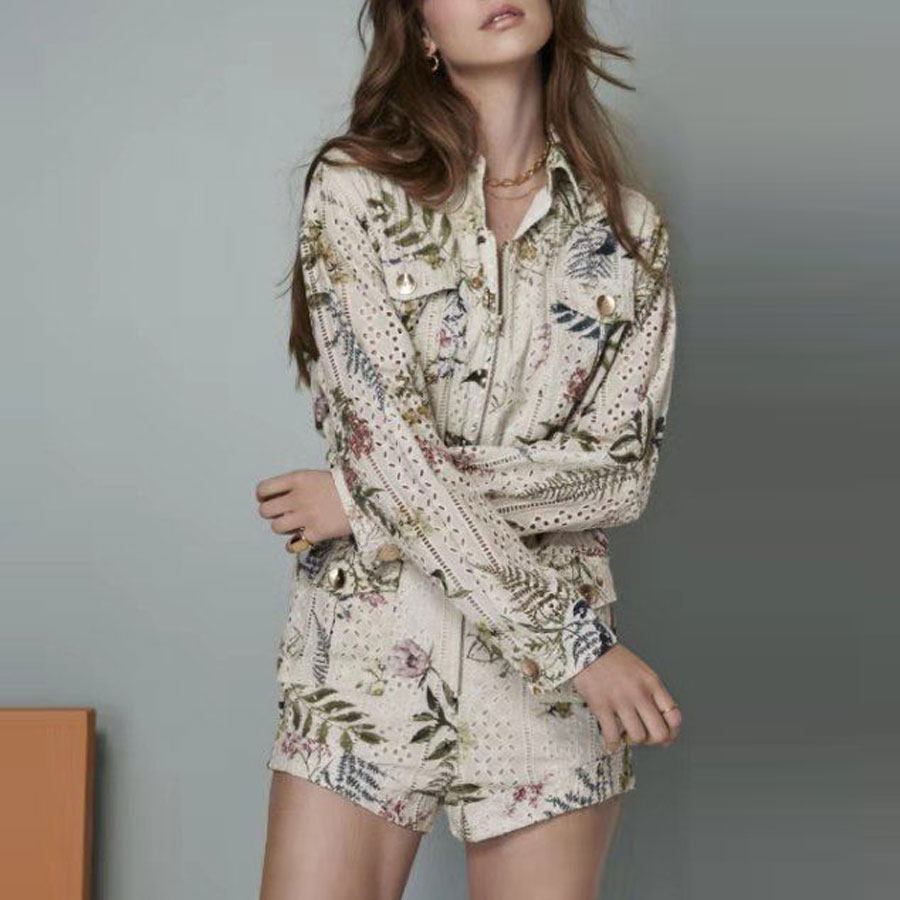 2020 Spring New Women Playsuits Jumpsuits Long Sleeve Hollow Out Linen Jumpsuits Playsuits Women Rompers Holiday Slim Jumpsuits