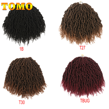 TOMO Bomb Twist Crochet Braids Pre-looped Passion Twist Crochet Hair Ombre Spring Twist Synthetic Braiding Hair Extensions 14 5