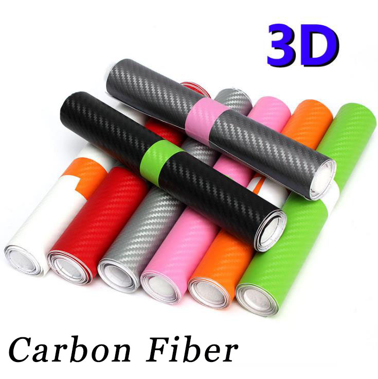 30x127cm 3D High Glossy Carbon Fiber Vinyl Film Car Styling Wrap Motorcycle Car Styling Accessories Carbon Fiber Sticker(China)