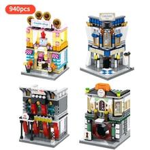 4set/lot Cloth shop HF-Bank Cookie shop Ceramic shop city street led light view building block toy for children gift