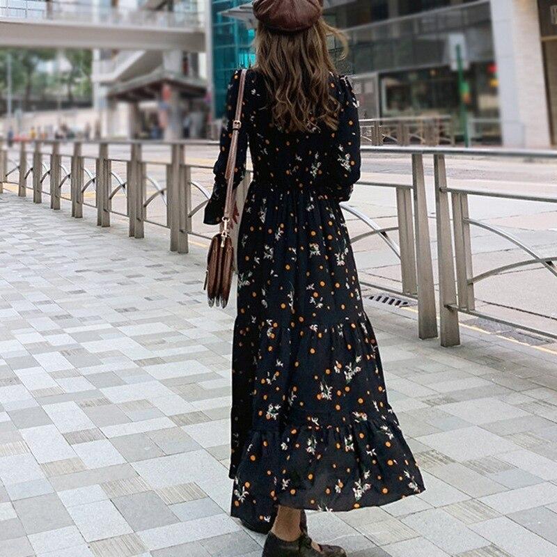 Весенне осеннее платье с цветочным принтом женские повседневные