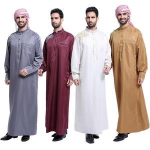 Image 1 - Müslüman suudi erkek elbise Thobe Dishdasha Thoub İslam namaz Abaya arapça Kaftan uzun kollu elbise Jubba giyim orta doğu yeni