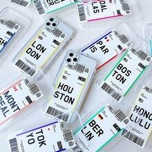 Funda de teléfono para iphone 7 8 plus 11 Pro x xs max xr con etiqueta de viaje para la ciudad de Dubai Singapur París Bangkok
