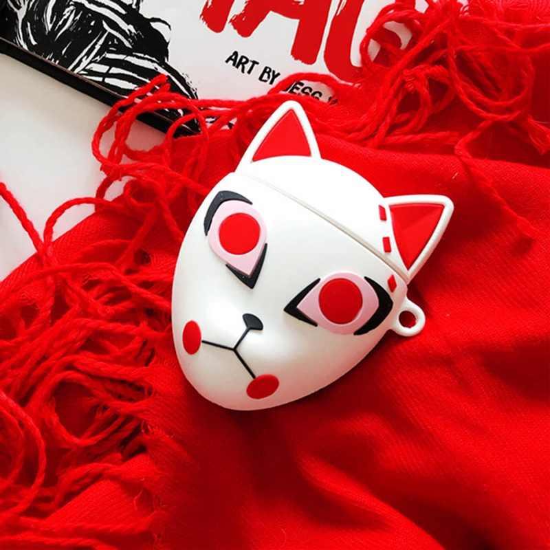 3D Jepang Darah Kartun Demon Slayer Kimetsu Tidak Yaiba Fox Masker Silikon Case untuk Airpods 1 2 Bluetooth Earphone Aksesoris cover