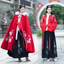 Hanfu-Set Hooded Chinese Cape Cloak Ancient Traditional New-Year-Costume Plus-Size Women