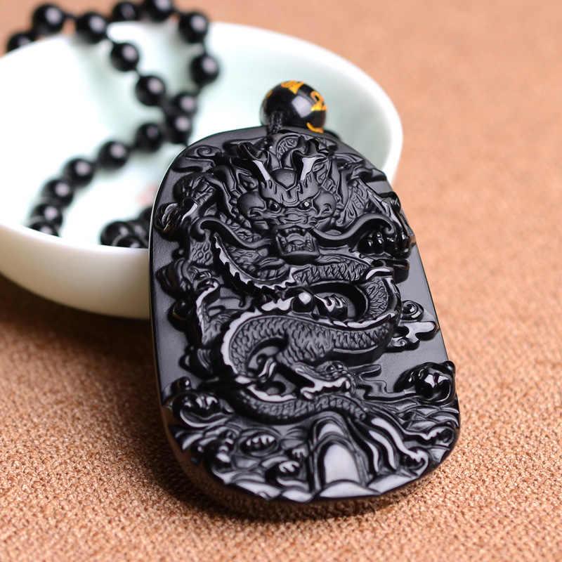 + + + + 921 自然な黒曜石のペンダントとビーズネックレス黒 A 彫干支ドラゴンヒスイの罰金彫刻中国マスコットお守り運