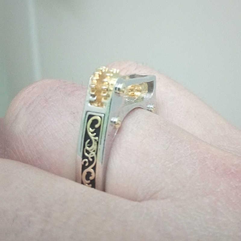 Steampunk Silver Plated Mechanical Gear Wheel Men Finger Ring Punk Vintage Ring