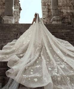 Image 5 - Arabisch Dubai Hochzeit Kleid 2020 Langarm Luxus Perlen Blumen Kathedrale Zug mariage Hochzeit Brautkleider robe de mariee