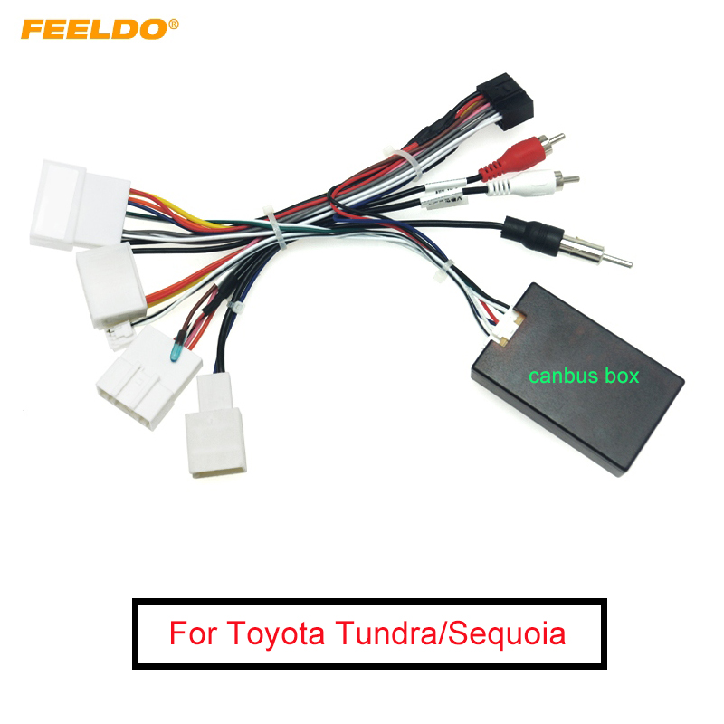FEELDO Car Stereo Audio 16PIN Android Wiring Harness Power Cable Adapter With Canbus Box For Toyota Tundra/Sequoia/Lexus 330/350