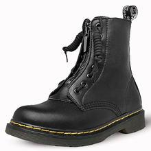 Женские ботинки martin 2020 зимние кожаные на плоской подошве