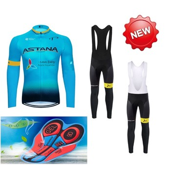 ASTANA 2018 equipo de manga larga de ciclismo jersey conjunto de pantalones...