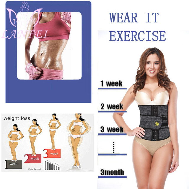 LANFEI Neoprene Sweat Waist Trainer Belt Women Weight Lose Body Shaper Sauna Slimming Strap Tummy Control Fat Burn Girdle Corset 3