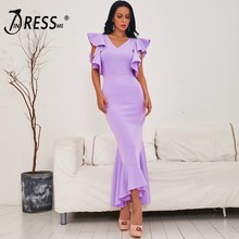 Indressme 2020 Lente Nieuwe Vrouwen Sexy Mid Lengte Gown Backless V-hals Korte Mouwen Ruches Party Club Mermaid Jurk Mode hot(China)