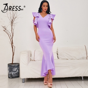 Image 1 - INDRESSME 2020 Spring New Women Sexy Mid Length Gown Backless V Neck Short Sleeve Ruffles Party Club Mermaid Dress Fashion Hot