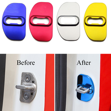 4 Pcs Car Door Lock Cover Decorative Anti rust Protection Cover Blue/Silver/Red/Gold/Black For Benz Smart 451 Fortwo 453 Forfour