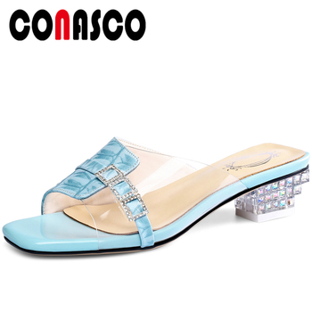 CONASCO Genuine Leather Women Sandals Pumps Summer New Slippers High Heels Fashion Concise Rhinestone Gingham Casual Shoes Woman