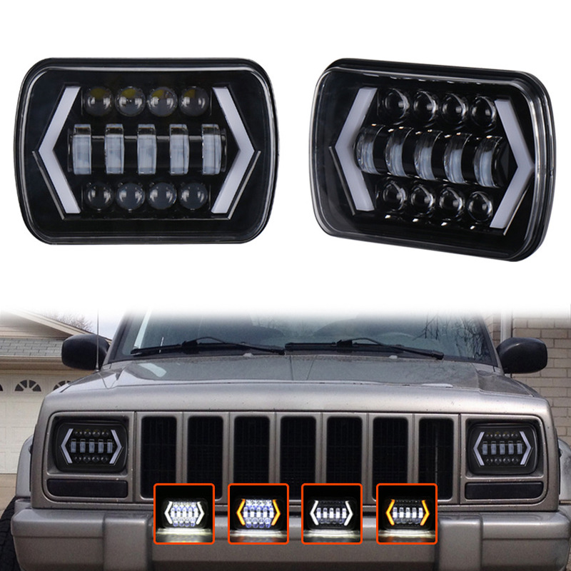 Manufacturers Selling 5 X7jeep Headlight 7 Inch Square Lamp Pickup SUV Cross-country Modified Special LED Car Headlights